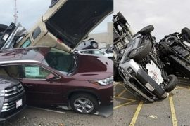 Tornado destroys cars