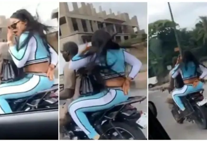 Bobrisky Spotted Riding Okada In Lagos As He/She Tries To Hide The Face