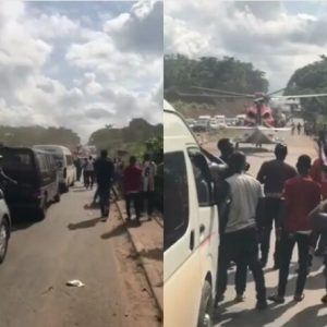 Watch The Moment A Helicopter Flew In To Pick Up A Billionaire Stuck In Traffic In Nigeria